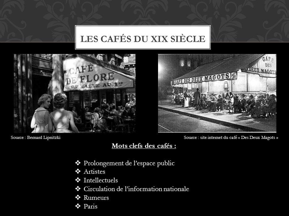 Les cafés du xix siècle Mots clefs des cafés :