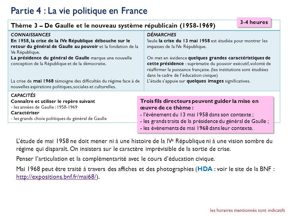 Partie 4 : La vie politique en France
