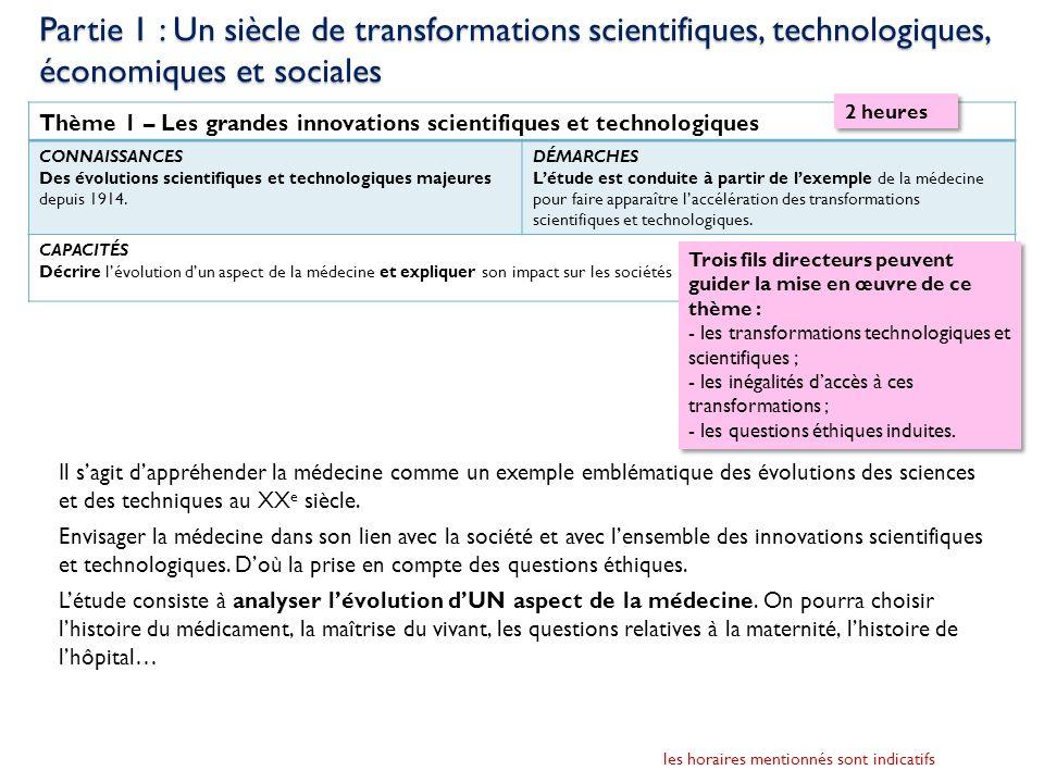 Partie 1 : Un siècle de transformations scientifiques, technologiques, économiques et sociales