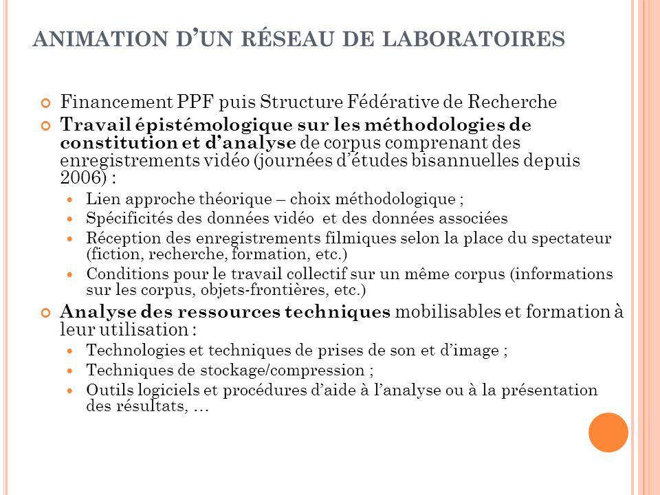 animation d'un réseau de laboratoires