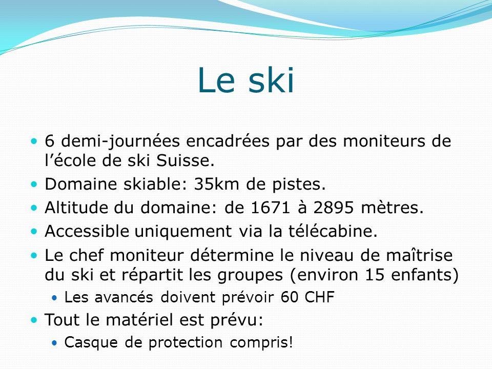 Le ski 6 demi-journées encadrées par des moniteurs de l'école de ski Suisse. Domaine skiable: 35km de pistes.