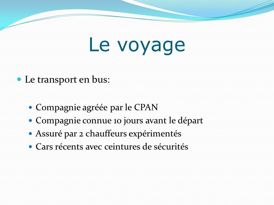 Le voyage Le transport en bus: Compagnie agréée par le CPAN