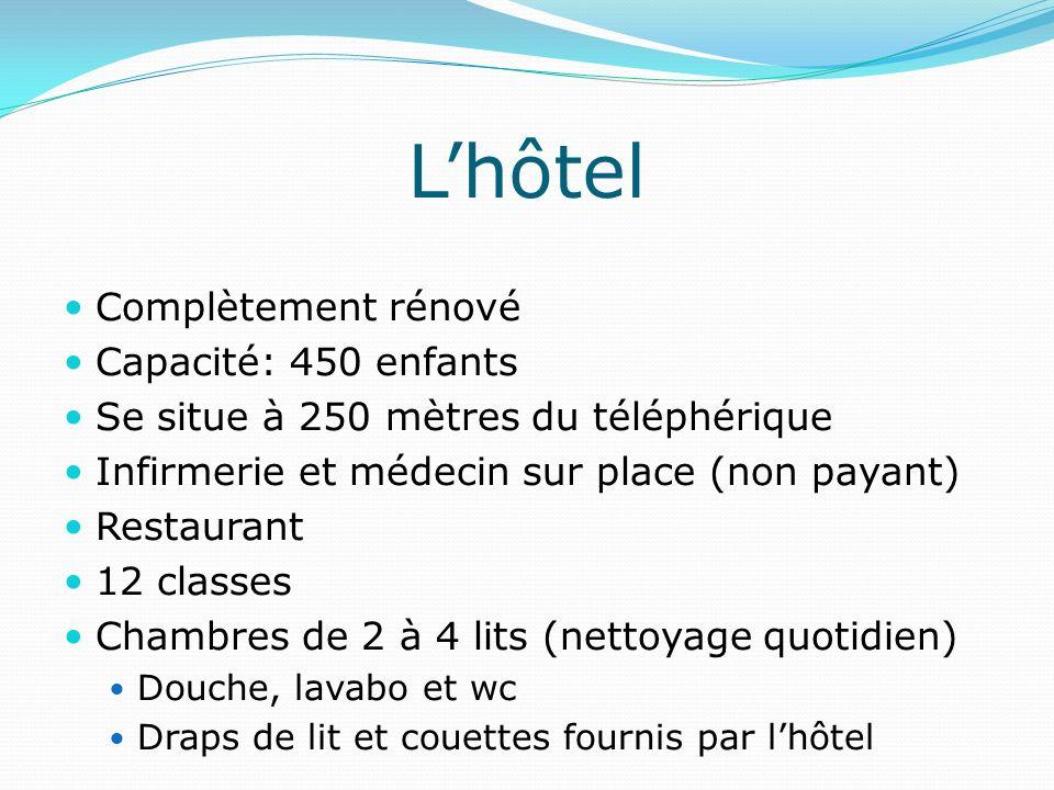 L'hôtel Complètement rénové Capacité: 450 enfants