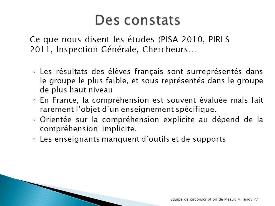 Des constats Ce que nous disent les études (PISA 2010, PIRLS 2011, Inspection Générale, Chercheurs…