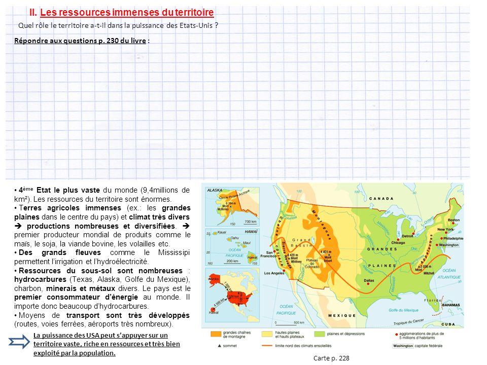 II. Les ressources immenses du territoire