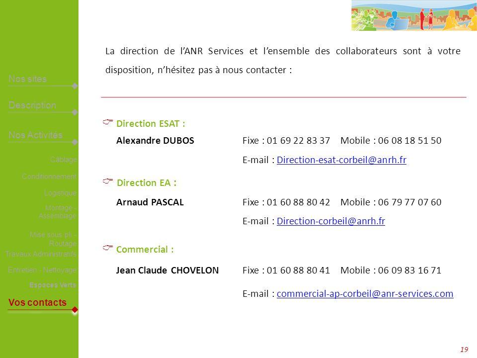 Alexandre DUBOS Fixe : 01 69 22 83 37 Mobile : 06 08 18 51 50