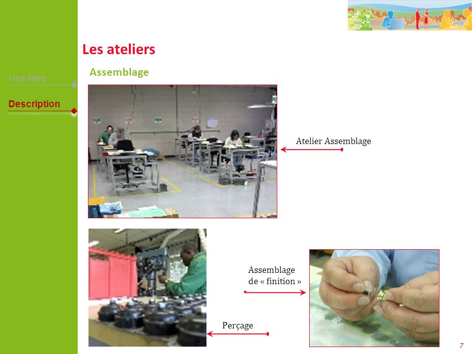Les ateliers Assemblage Nos sites Description Atelier Assemblage