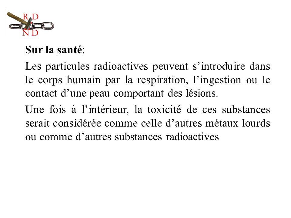 Sur la santé: Les particules radioactives peuvent s'introduire dans le corps humain par la respiration, l'ingestion ou le contact d'une peau comportant des lésions.