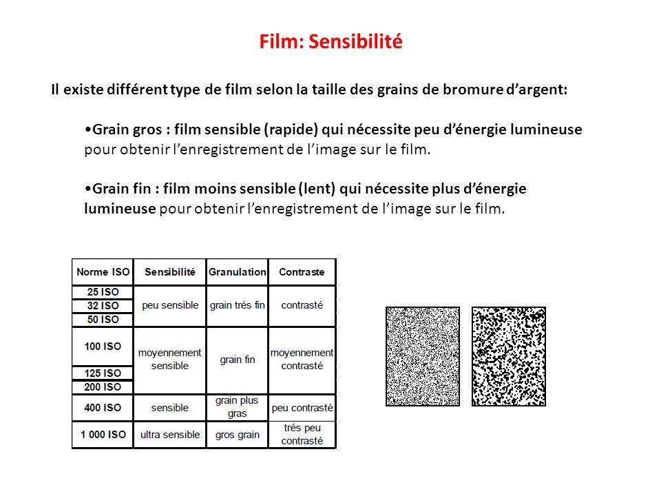 Film: Sensibilité Il existe différent type de film selon la taille des grains de bromure d'argent: