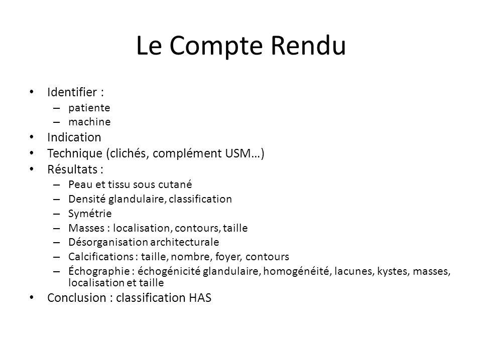 Le Compte Rendu Identifier : Indication