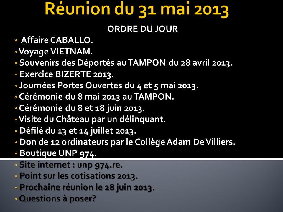 Réunion du 31 mai 2013 ORDRE DU JOUR Affaire CABALLO. Voyage VIETNAM.