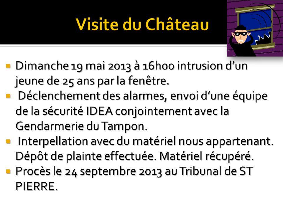 Visite du Château Dimanche 19 mai 2013 à 16h00 intrusion d'un jeune de 25 ans par la fenêtre.