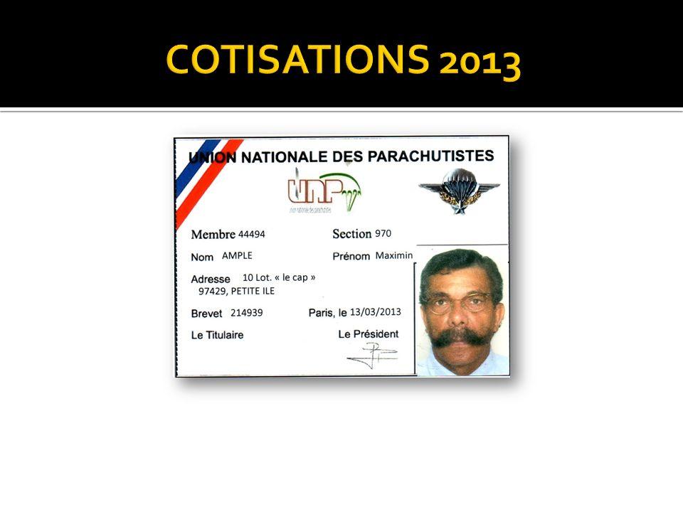COTISATIONS 2013