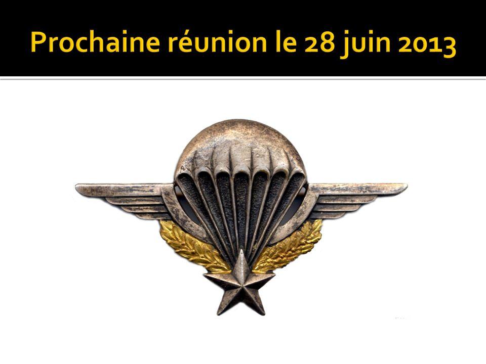 Prochaine réunion le 28 juin 2013