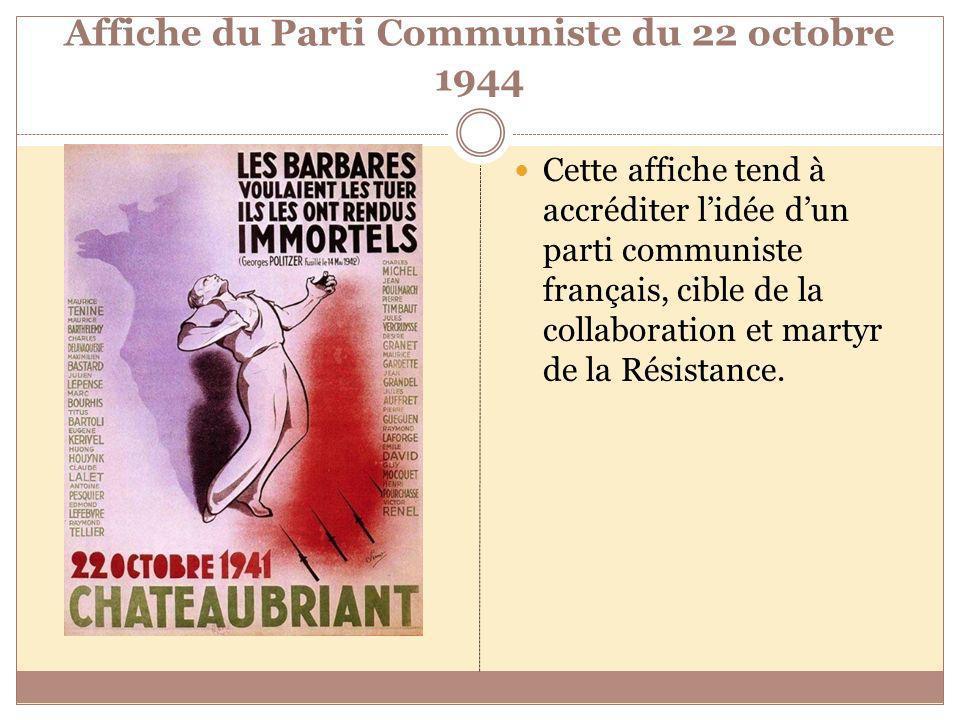 Affiche du Parti Communiste du 22 octobre 1944