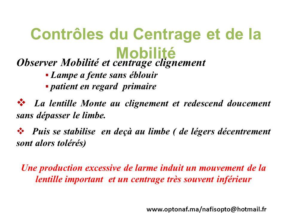 Contrôles du Centrage et de la Mobilité