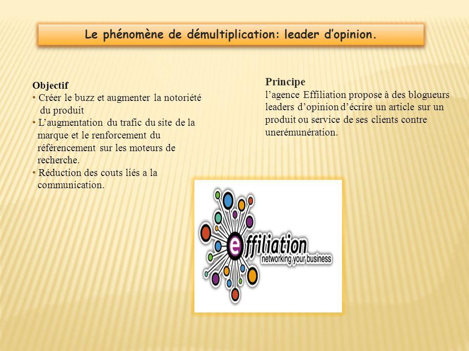 Le phénomène de démultiplication: leader d'opinion.
