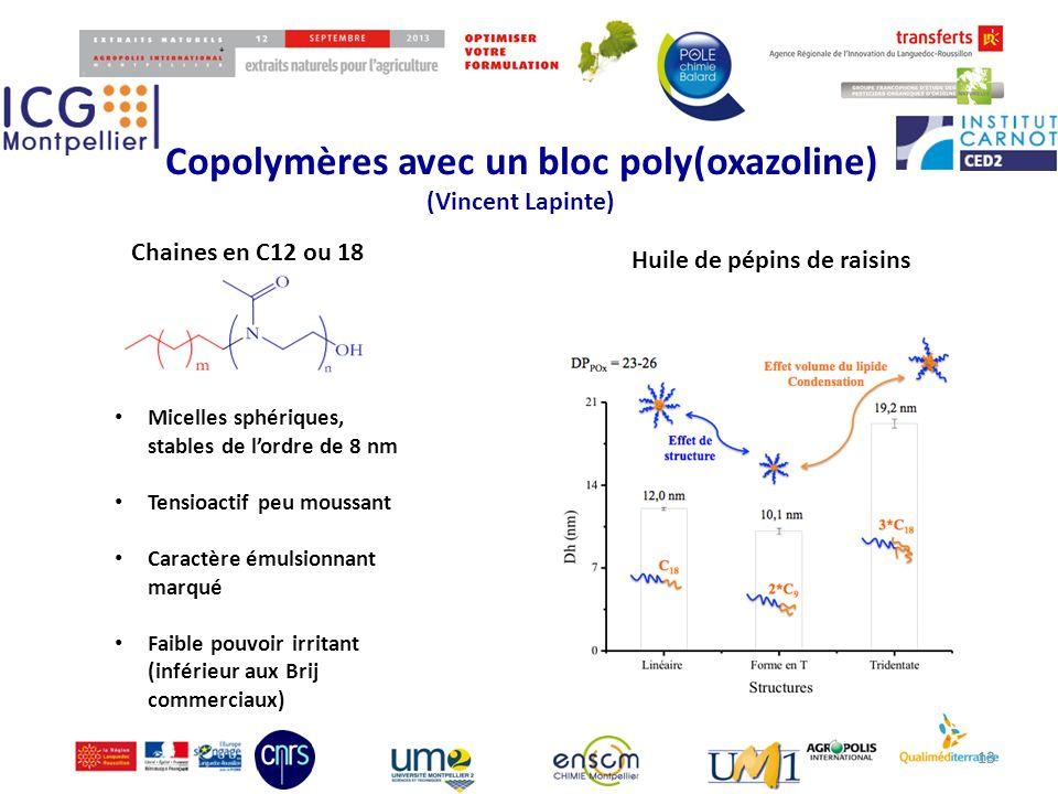 Copolymères avec un bloc poly(oxazoline)