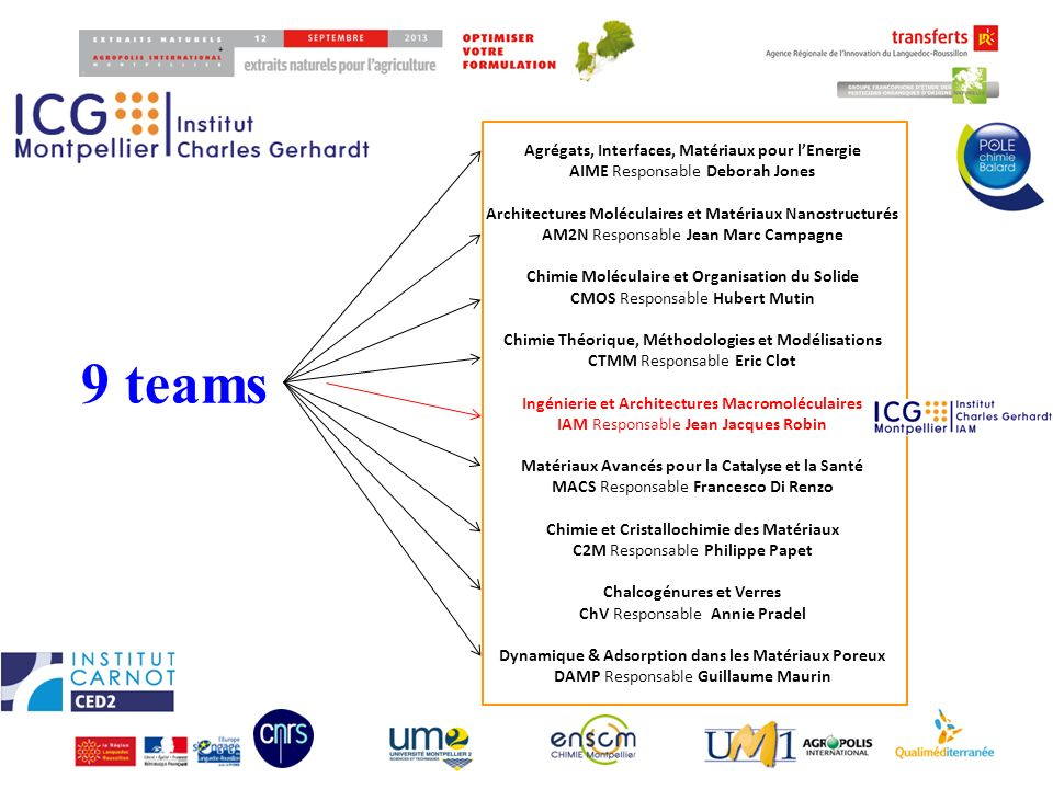 9 teams Agrégats, Interfaces, Matériaux pour l'Energie