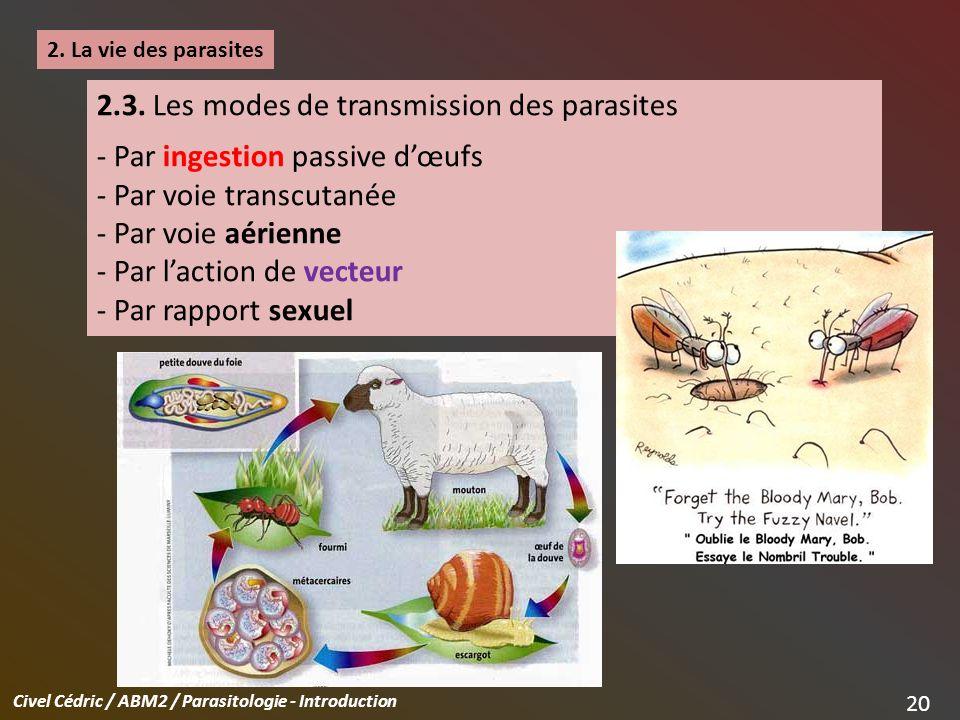 2.3. Les modes de transmission des parasites