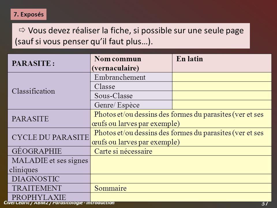 7. Exposés  Vous devez réaliser la fiche, si possible sur une seule page (sauf si vous penser qu'il faut plus…).