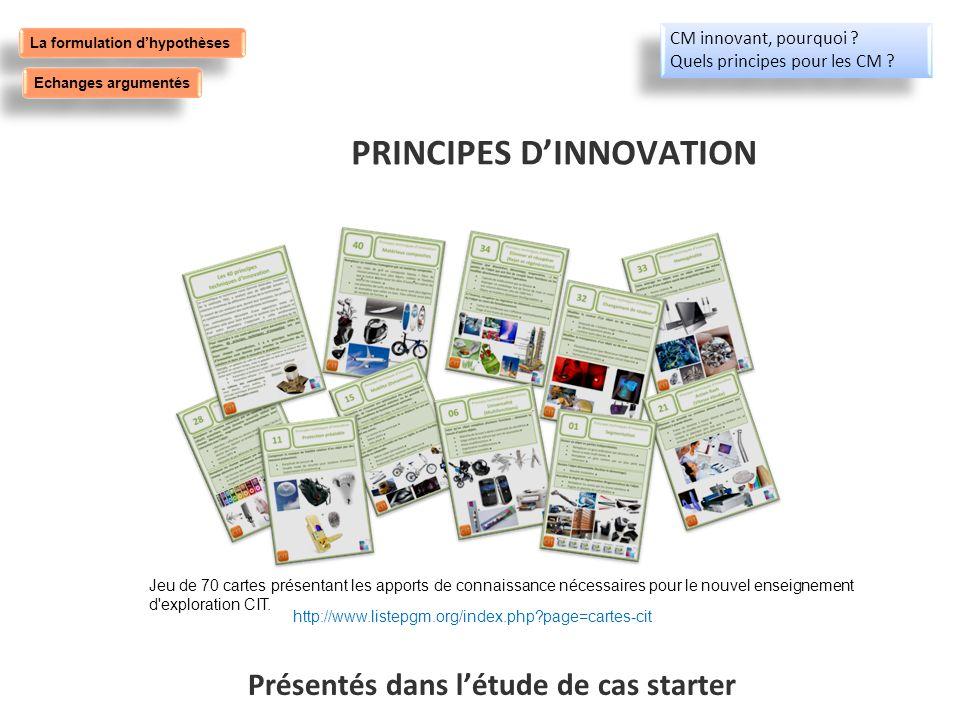 PRINCIPES D'INNOVATION Présentés dans l'étude de cas starter