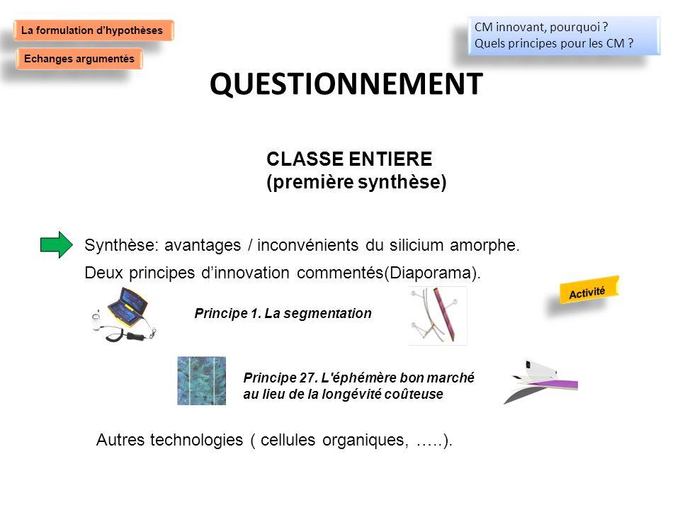 QUESTIONNEMENT CLASSE ENTIERE (première synthèse)