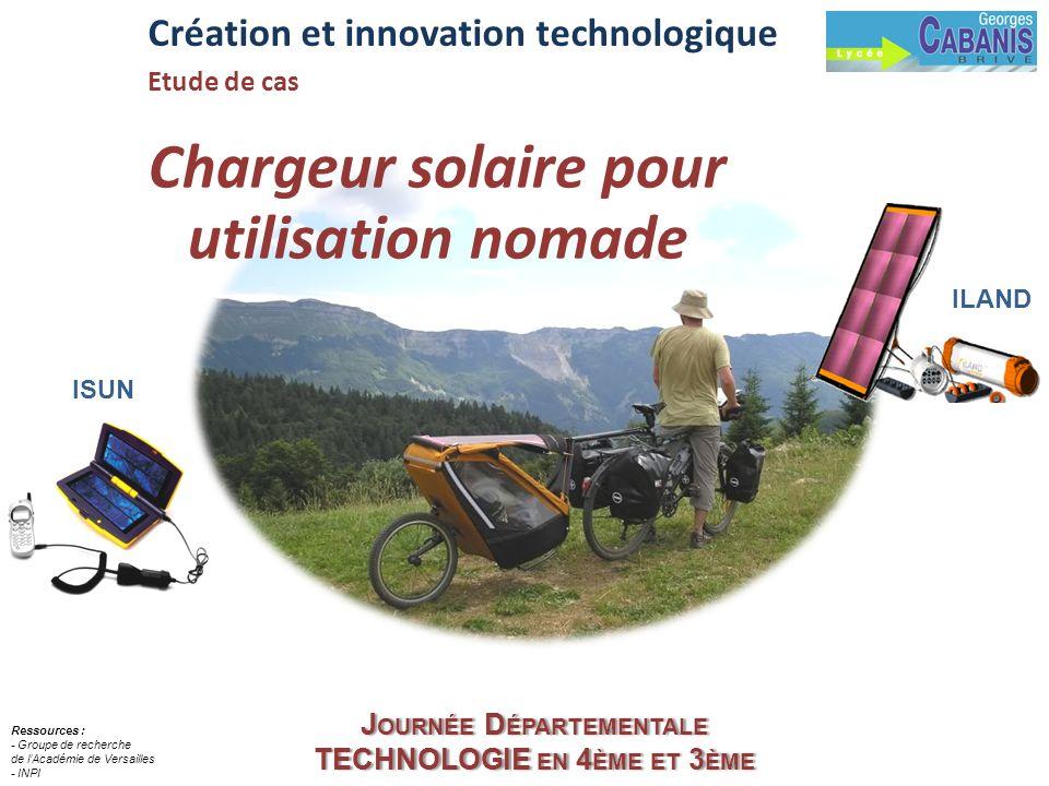 Chargeur solaire pour utilisation nomade