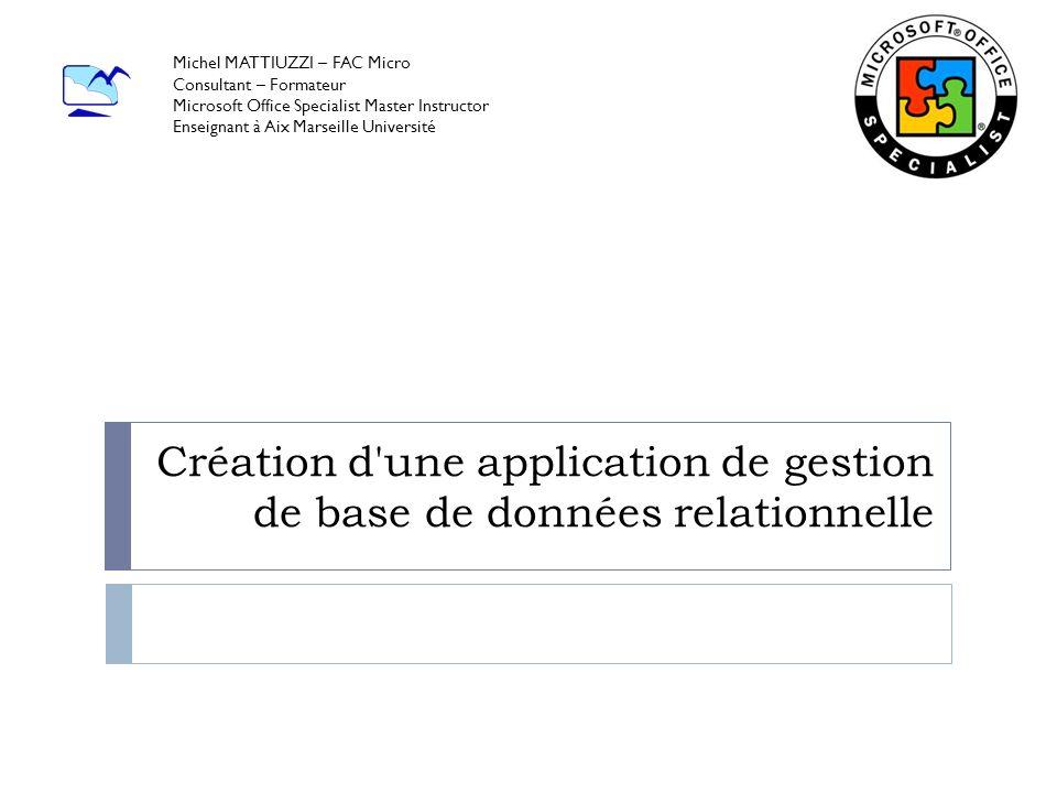 Création d une application de gestion de base de données relationnelle