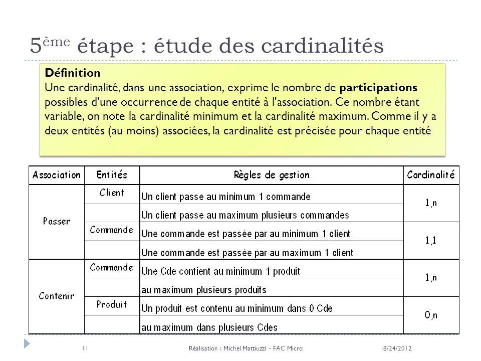 5ème étape : étude des cardinalités