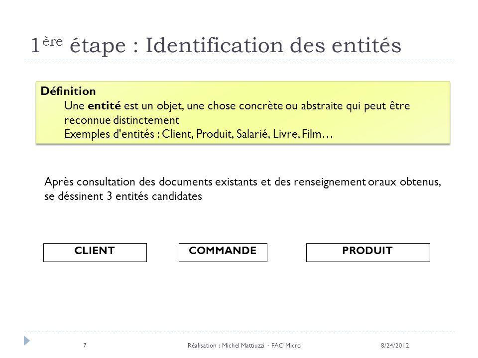 1ère étape : Identification des entités
