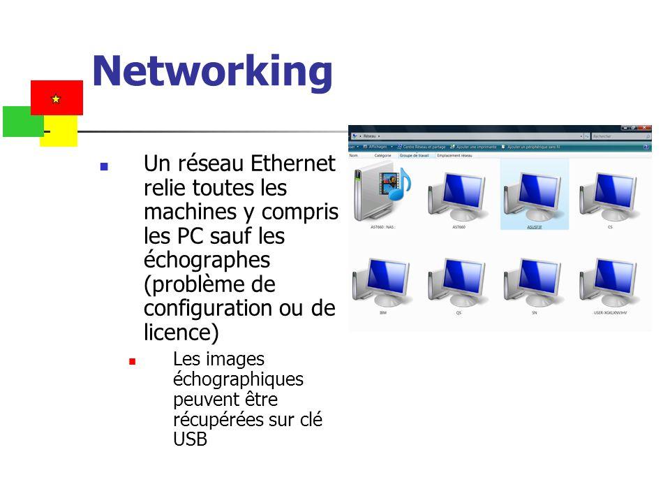 Networking Un réseau Ethernet relie toutes les machines y compris les PC sauf les échographes (problème de configuration ou de licence)