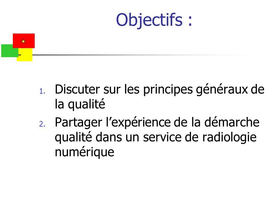 Objectifs : Discuter sur les principes généraux de la qualité