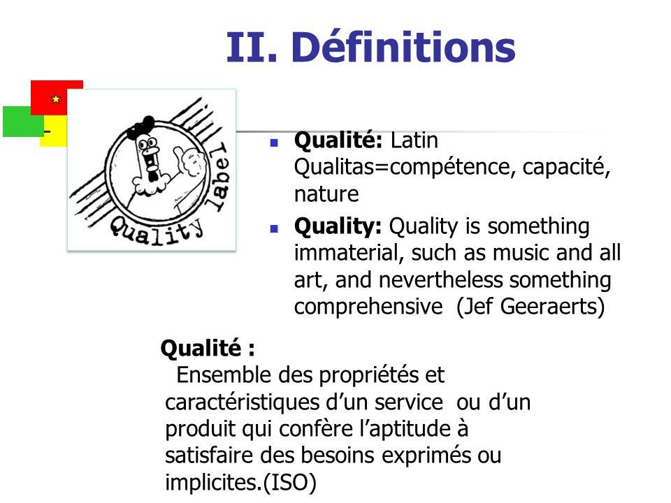 II. Définitions Qualité: Latin Qualitas=compétence, capacité, nature