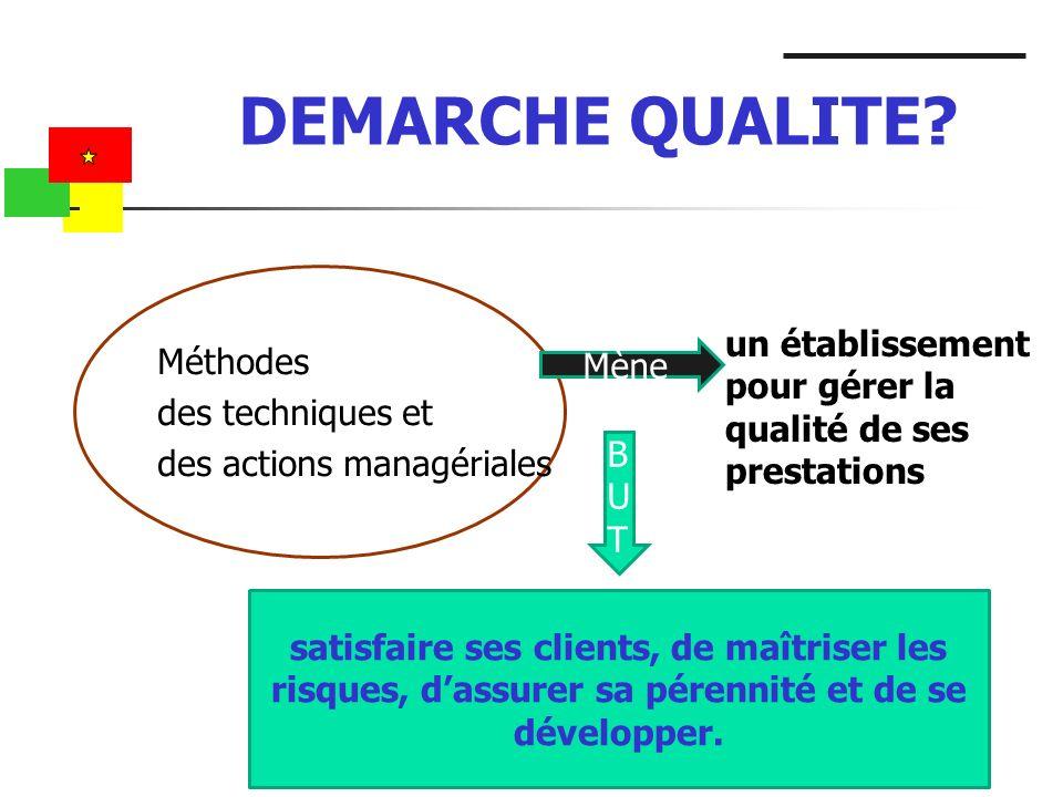 DEMARCHE QUALITE Méthodes des techniques et des actions managériales