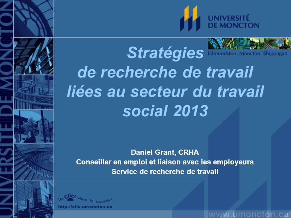 Stratégies de recherche de travail liées au secteur du travail social 2013