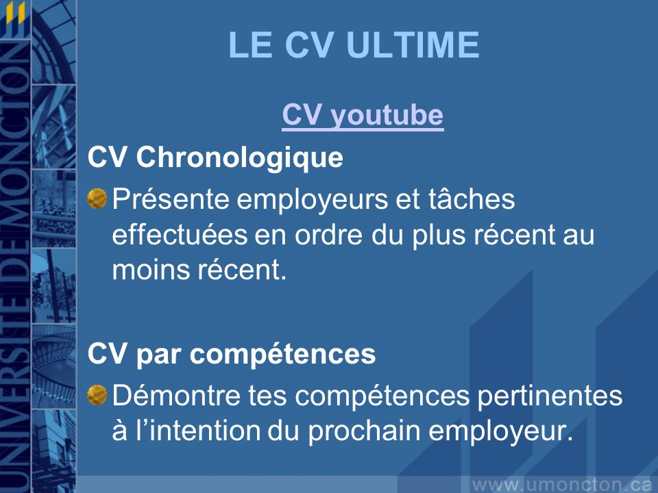 LE CV ULTIME CV youtube CV Chronologique