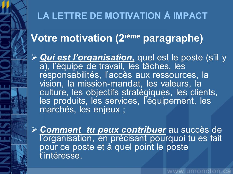 LA LETTRE DE MOTIVATION À IMPACT