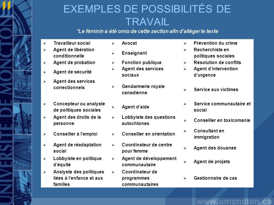 EXEMPLES DE POSSIBILITÉS DE TRAVAIL