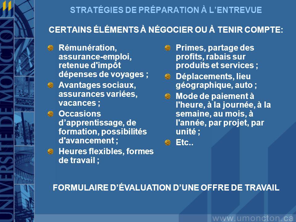 FORMULAIRE D'ÉVALUATION D'UNE OFFRE DE TRAVAIL