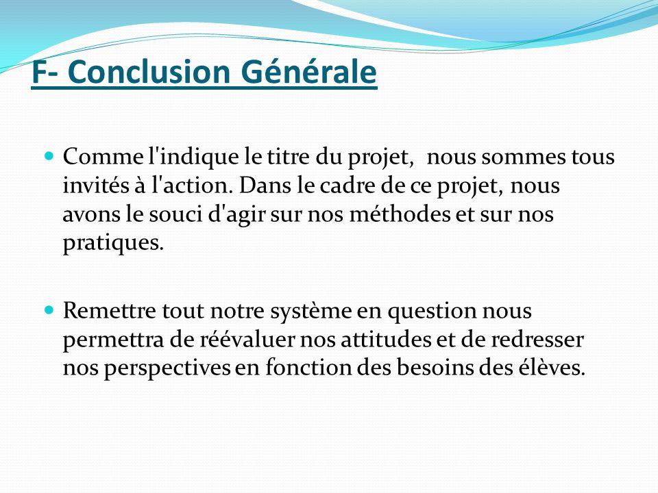 F- Conclusion Générale