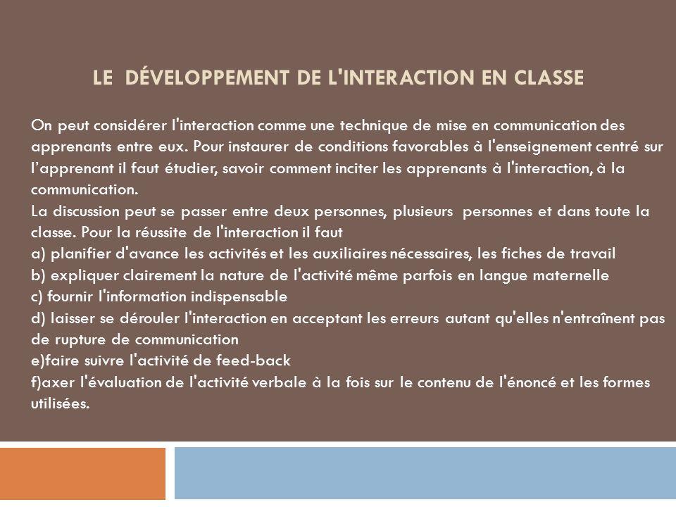 Le développement de l interaction en classe