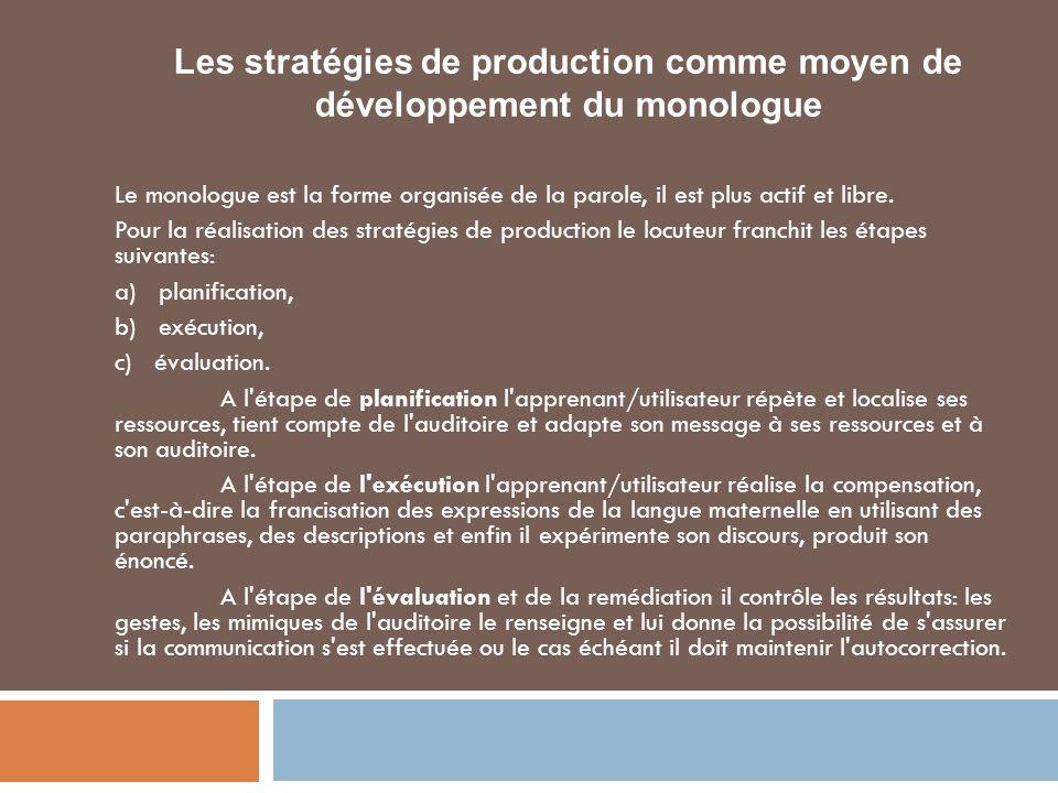 Les stratégies de production comme moyen de développement du monologue
