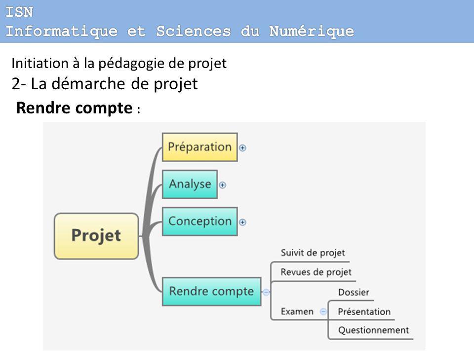 2- La démarche de projet Rendre compte : ISN