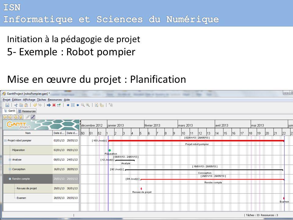 5- Exemple : Robot pompier Mise en œuvre du projet : Planification