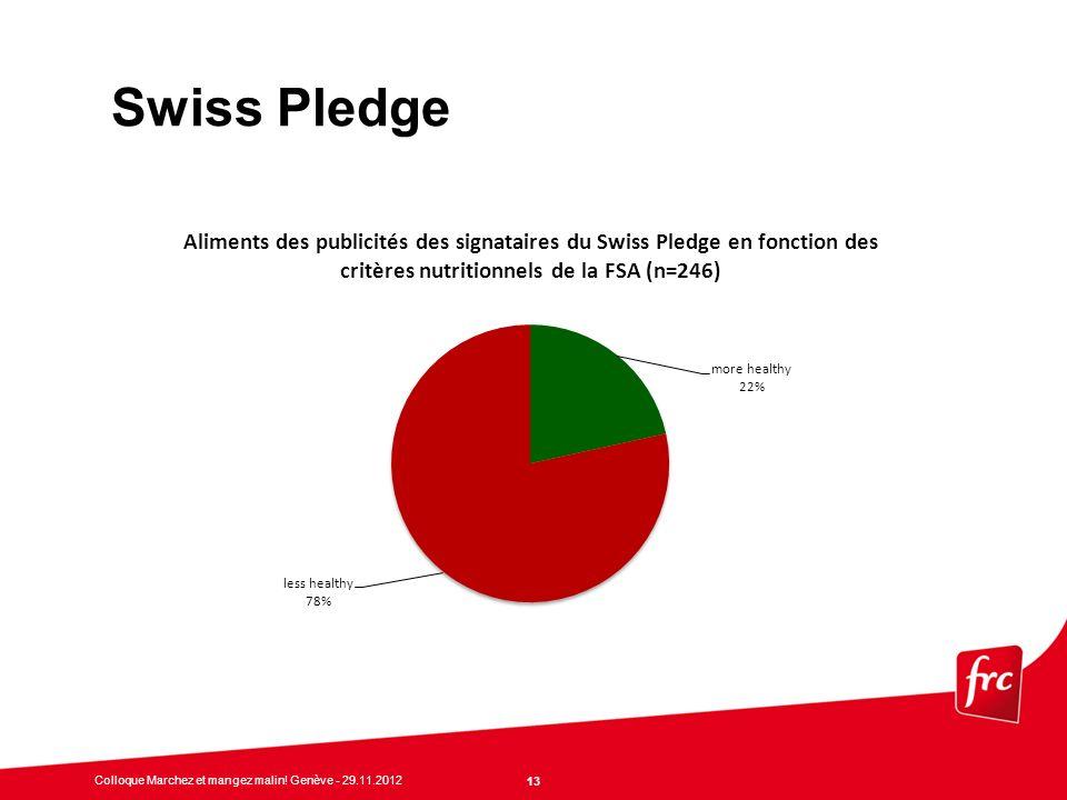 Swiss Pledge Nestlé, Kellogg's, Coca Cola, Zweifel (Mars = Uncle Ben's riz nature, Unilever = margarine Becel)