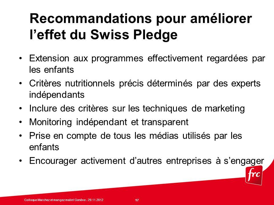Recommandations pour améliorer l'effet du Swiss Pledge