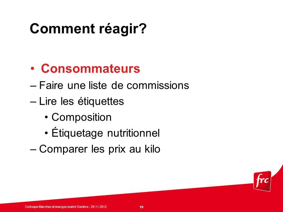 Comment réagir Consommateurs Faire une liste de commissions
