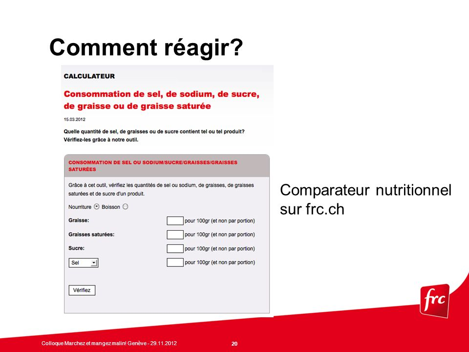 Comment réagir Comparateur nutritionnel sur frc.ch