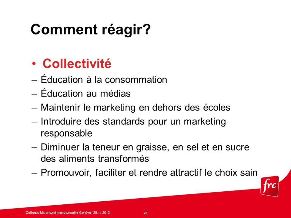 Comment réagir Collectivité Éducation à la consommation
